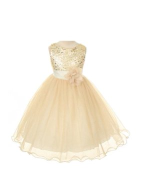 2f6625c2f0eef Product Image Absolutely Beautiful Sequined Bodice with Double Tulle Skirt  Party flower Girl Dress-KD305-White