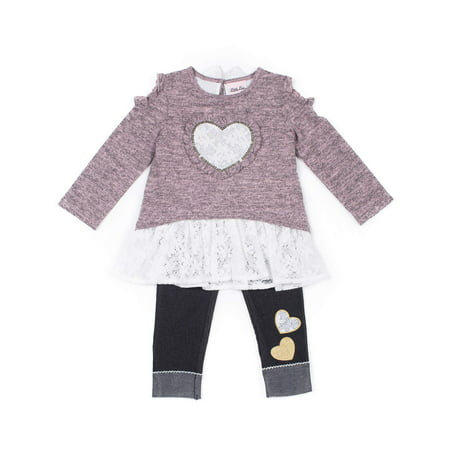 Cold Shoulder Lace Layered Sweater & Knit Denim Jeans, 2-Piece Outfit Set (Baby Girls & Toddler Girls)