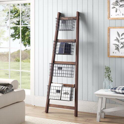 Gracie Oaks Vertical Wooden 6 ft Blanket Ladder