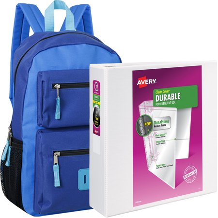 18 Inch Double Pocket Backpack and Avery Durable Vinyl Slant D Ring View Binder, 3; Capacity, White Bundle