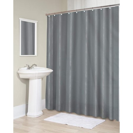 Splash Home Sheer Fabric Microfiber Shower Curtain Or Liner With 12 Chrome Metal Roller Hooks For Bathroom Showers And Bathtubs 100 Waterproof