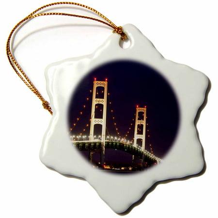 3dRose MI, Saint Ignace, Mackinac Bridge, suspension bridge - US23 PSO0016 - Paul Souders - Snowflake Ornament, 3-inch ()