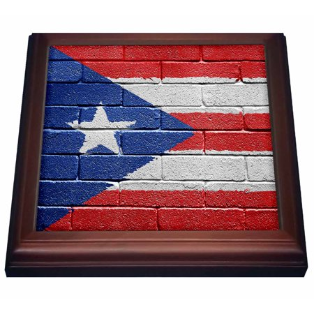 3dRose National flag of Puerto Rico painted onto a brick wall Rican - Trivet with Ceramic Tile, 8 by (Trivet Framed Tile)