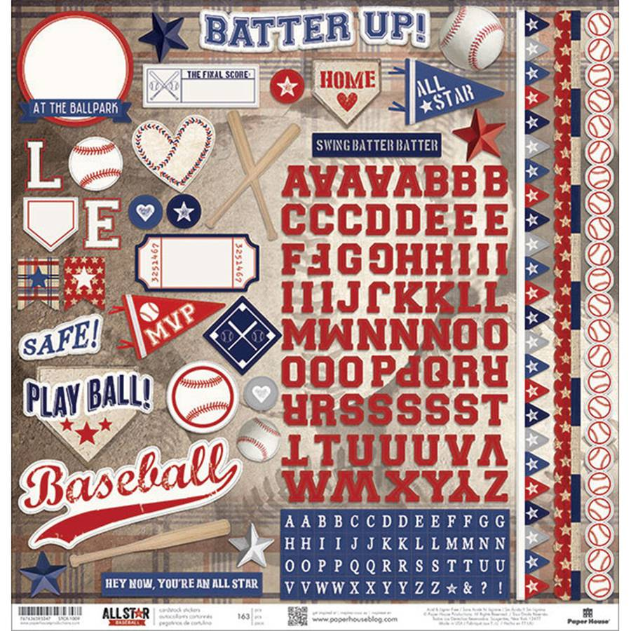 "Baseball Cardstock Stickers, 12"" x 12"""