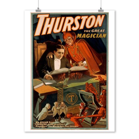 Thurston the Great Magician w/ Devil Magic - Vintage Theater Advertisement (9x12 Art Print, Wall Decor Travel Poster)](Magic Decor)