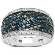 Malaika  Sterling Silver 4/5ct TDW Blue and White Diamond Ring