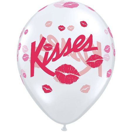 37117 Kisses Qualatex Latex Balloons 50 Pack 11 Diamond Clear