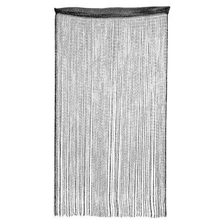 Door Window Sparkling Flat Ribbon Tassel Screen Divider String Curtain Black (Flat Leg Divider)