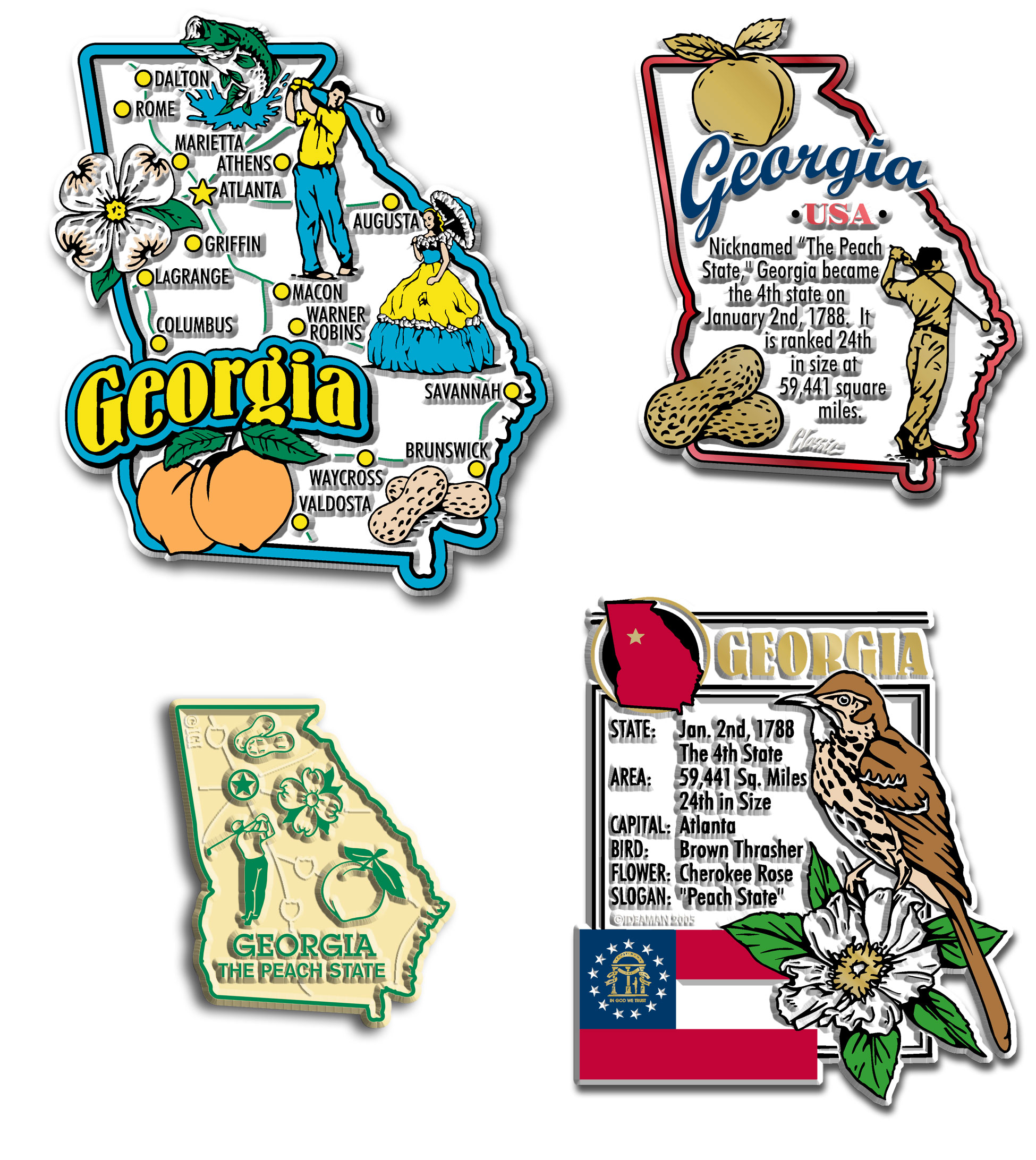Four-Piece State Magnet Set - Georgia