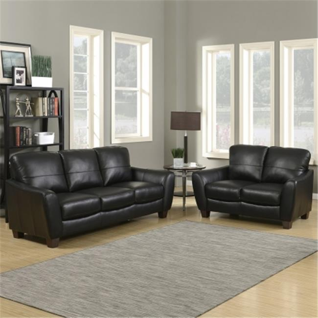 AC Pacific SAWYER-BLACK-2PC-SET Sawyer Contemporary Sofa & Loveseat 2 Piece Stationary Set by AC Pacific
