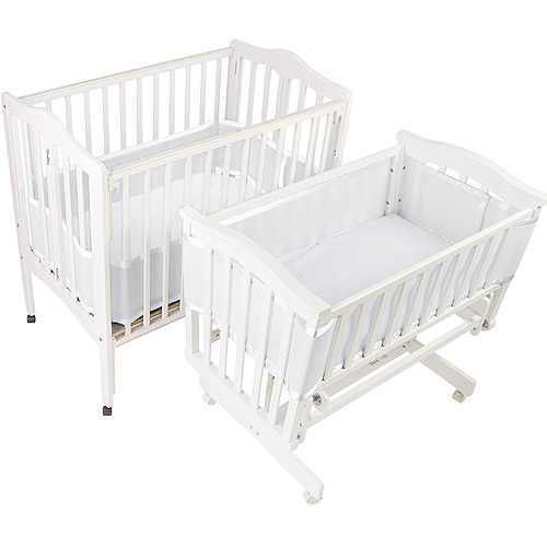 BreathableBaby - Breathable Crib Liner for Portable & Cradle Cribs, White