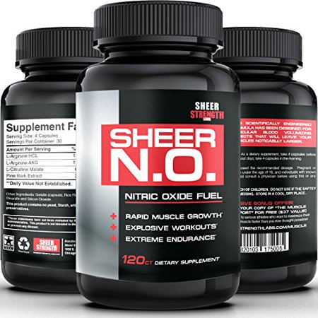 Sheer Strength Labs Sheer N.O., Nitric Oxide Booster, 120 Ct