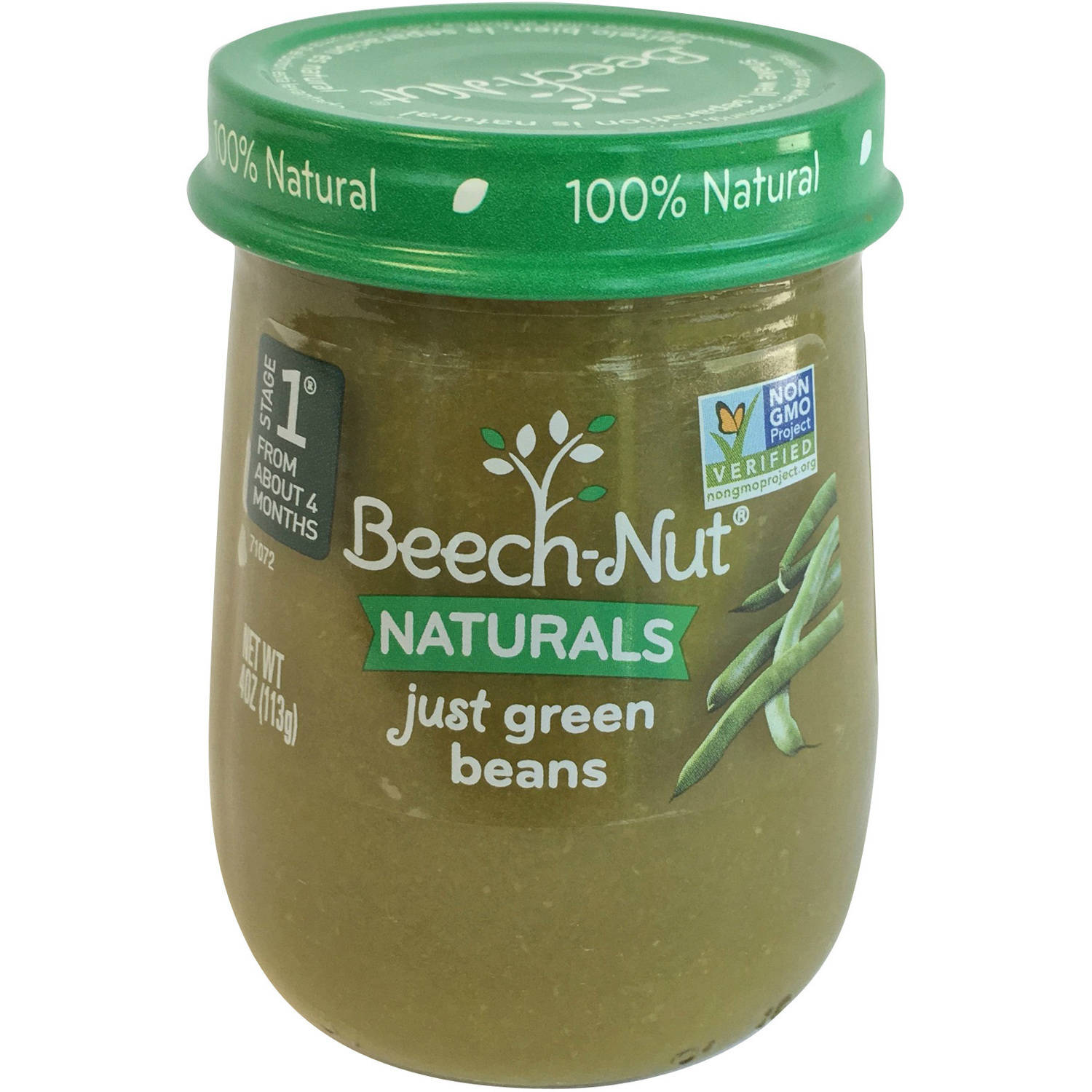 Beech-Nut Naturals Just Green Beans Stage 1 Baby Food, 4.0 oz, (Pack of 10)