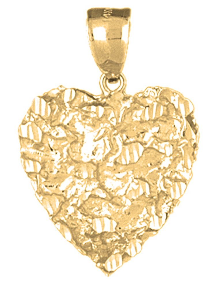21 mm 14K Yellow Gold Heart Pendant Jewels Obsession Heart Charm Pendant