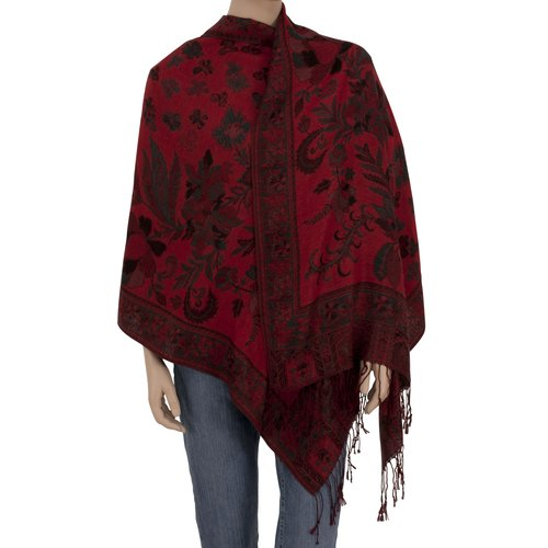 Multi Floral Wrap, Red