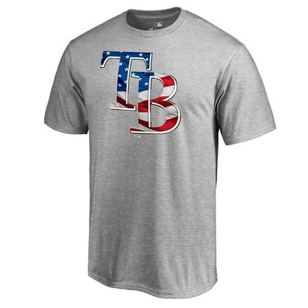 Tampa City Star (Tampa Bay Rays Fanatics Branded 2018 Stars & Stripes Banner Wave Logo T-Shirt - Heather Gray)