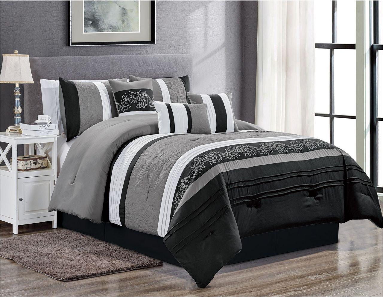 7 Piece Hazel Black//Gray Comforter Set