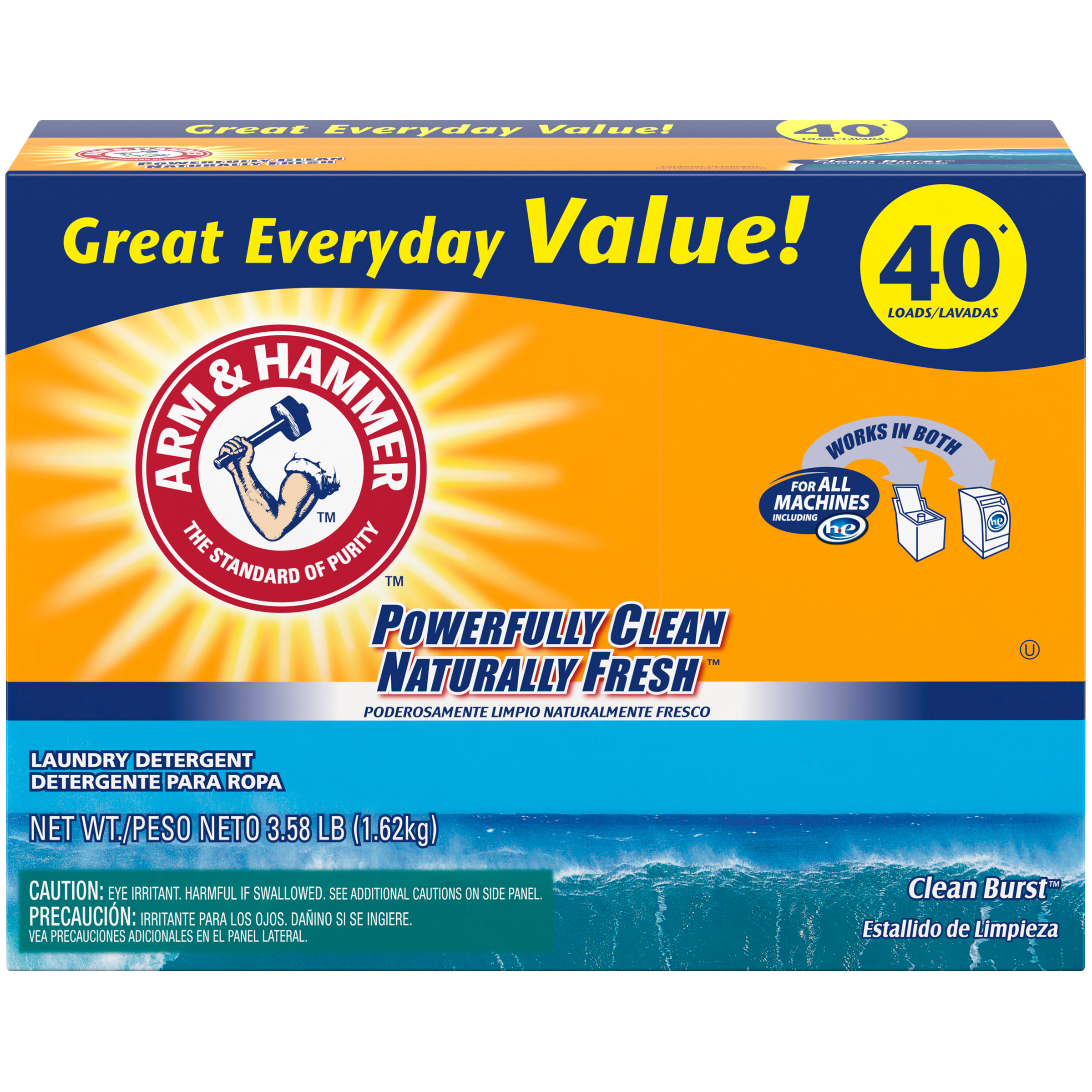Arm & Hammer Plus OxiClean Powder Laundry Detergent, Clean Burst, 40 Loads