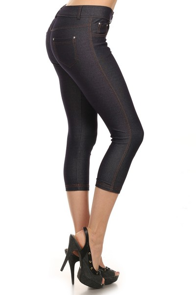 Women's Basic Solid Cotton Blend Capri Jeggings Soft Skinny Stretch Pants Multi Colors & Sizes