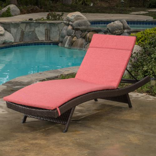 Sydney Outdoor Brown Wicker Adjustable Chaise Lounge With Red Colored Cushions