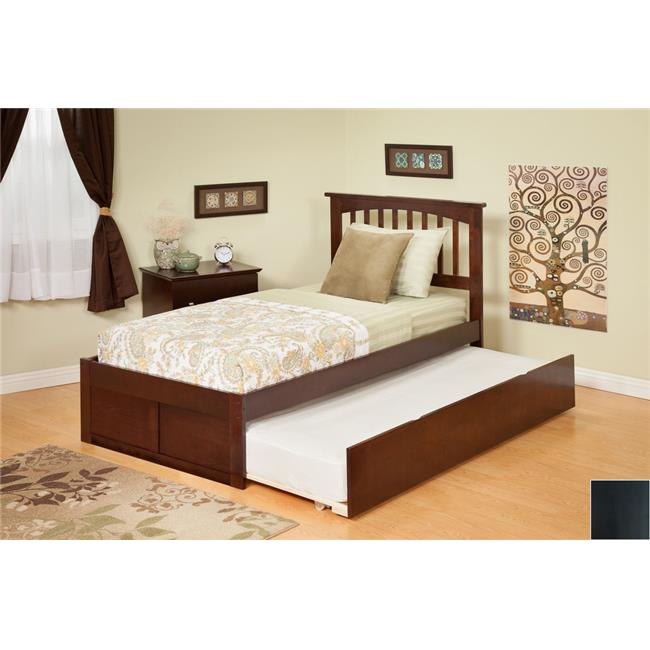 Mission Twin Bed with Flat Panel Footboard and Urban Trundle in an Espresso Finish