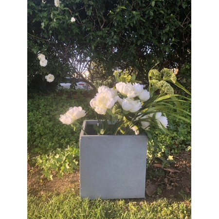 Durx-litecrete Lightweight Concrete Modern Square Charcoal Planter-Medium
