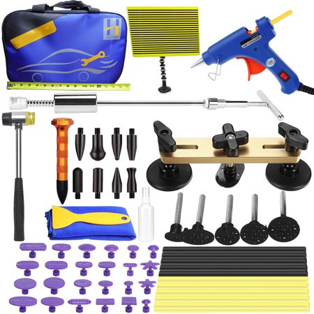 Paintless Auto Car Body Dent Removal Kits Remover Set Dent Glue Puller Lifter Body Shop Repair Tools, Tools Bag Included ()
