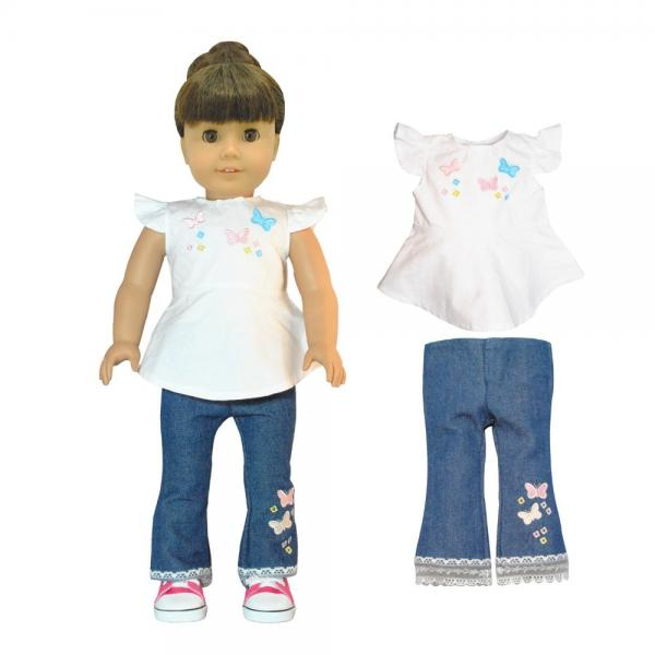 Doll Clothes - Fashion jeans and shirt with butterfly embroidery Fits American Girl Doll, My Life Doll, Our Generation and other 18 inch Dolls