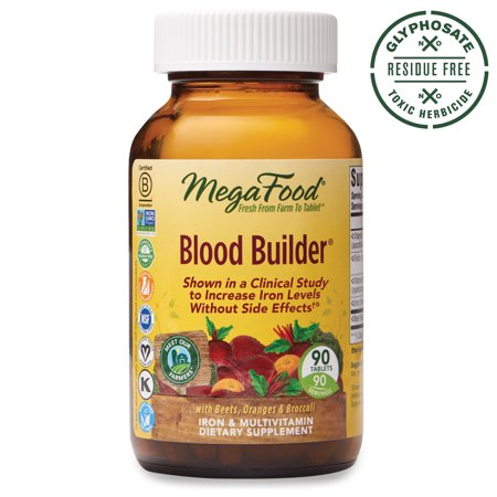 MegaFood - Blood Builder - Daily Iron Supplement and Multivitamin - Supports Energy and Red Blood Cell Production Without Nausea or Constipation - Gluten-Free - Vegan - 90 tablets (90