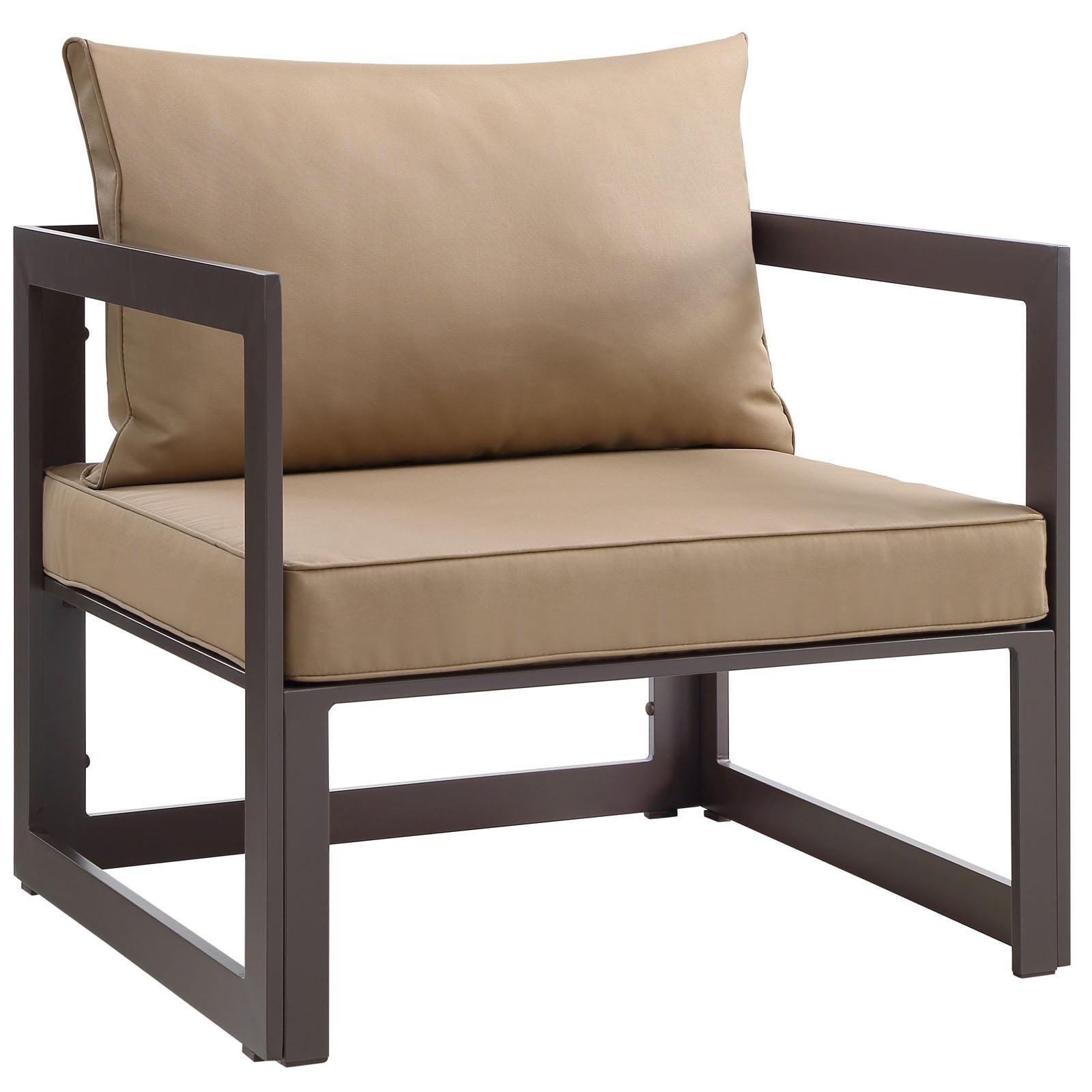 Modern Urban Contemporary Outdoor Patio Armchair, Brown Fabric Steel
