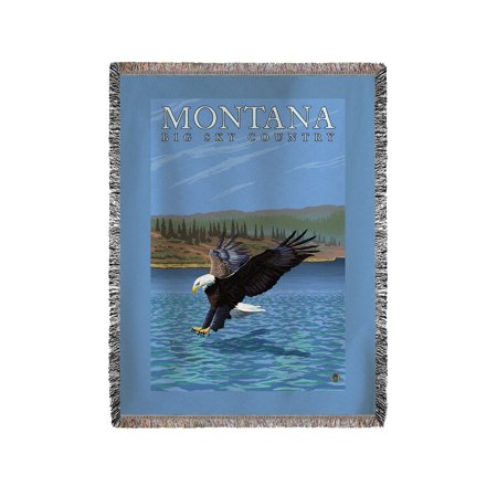 Montana    Big Sky Country   Diving Eagle   Lp Original Poster  60X80 Woven Chenille Yarn Blanket