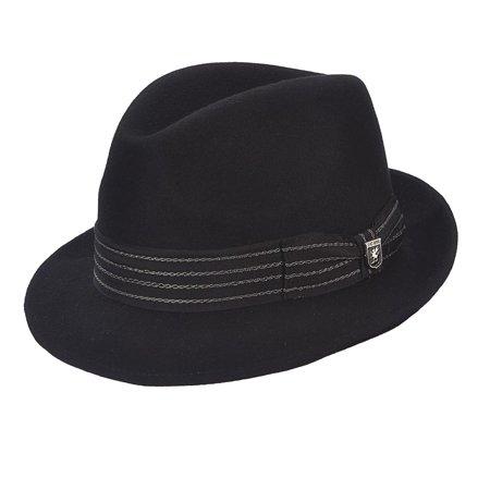 Men's Black Wool Pinch Front Fedora -