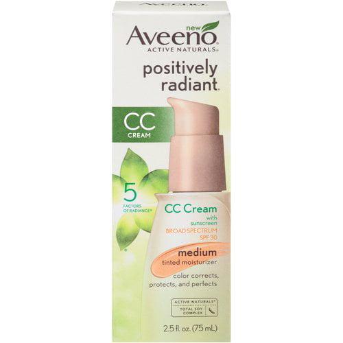 Aveeno Positively Radiant CC Cream Medium Tinted Moisturizer, SPF 30, 2.5 oz