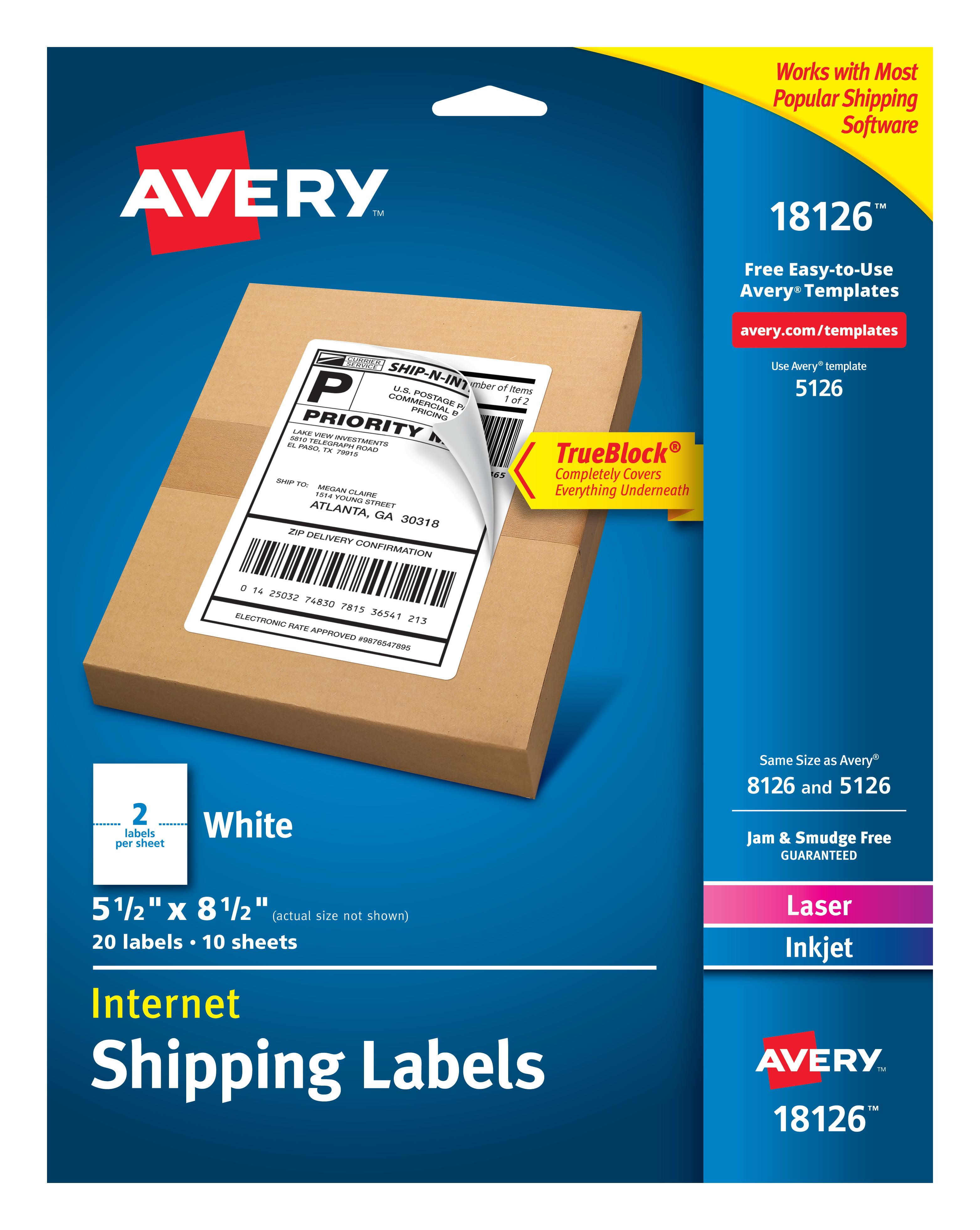 avery internet shipping labels trueblock technology permanent