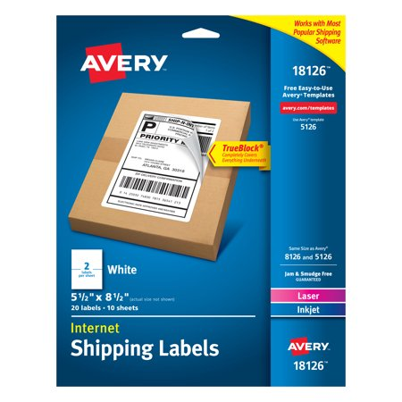 Avery Internet Shipping Labels, TrueBlock Technology, Permanent Adhesive, 5-1/2