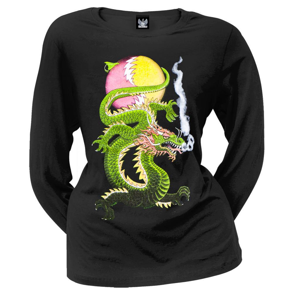 Grateful Dead - L Bolt Dragon SYF Off-Shoulder Juniors Long Sleeve T-Shirt