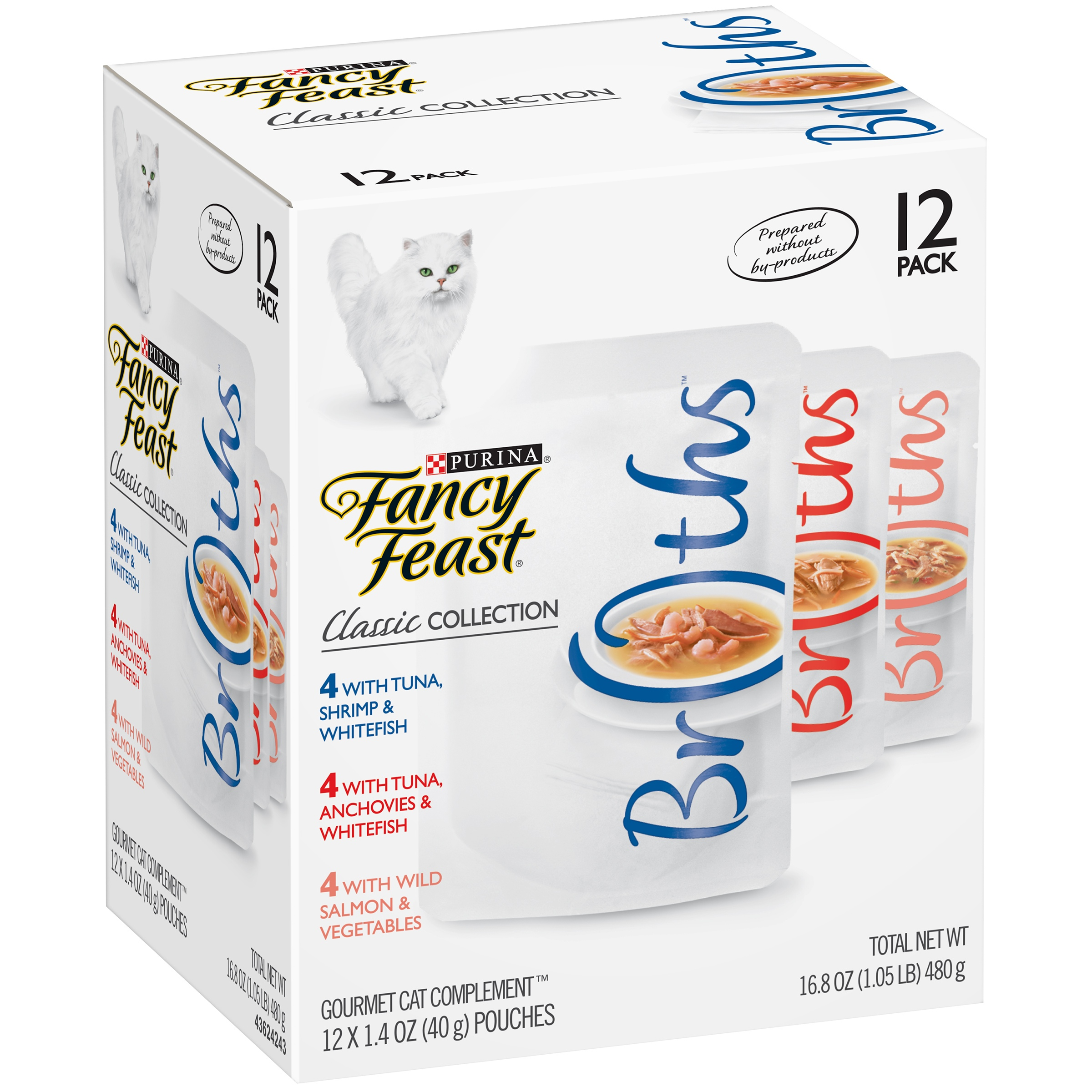 Purina Fancy Feast Classic Broths Collection Cat Complement Wet Cat Food, 1.4 Oz. Pouches (12 Pack)