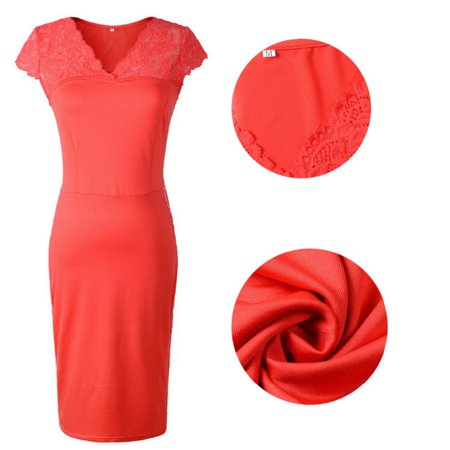 Women Ladies Sexy Bandage Bodycon Lace Slim Party Cap Sleeve Pencil Dress