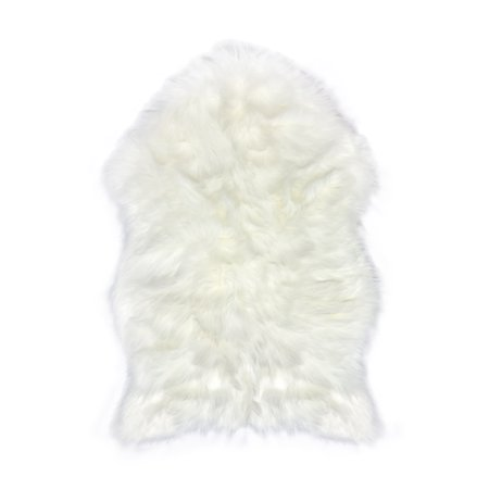Faux Fur Sheepskin Rug – White, Furry Rugs for Vanity Seats Chairs Cover - Plain Shaggy Area Luxury Home Throw Plush Seat Pad, Bedroom, Kids Rooms, Living Room Floor Faux Australian Rugs, 2ft x 3ft