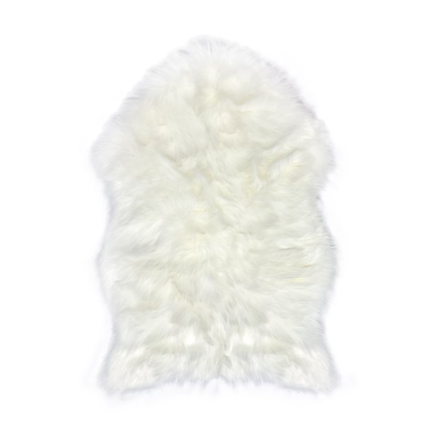 Faux Fur Sheepskin Rug – White, Furry Rugs for Vanity Seats Chairs ...