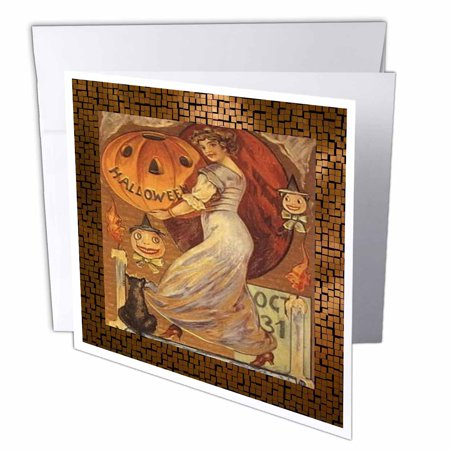 3dRose Vintage Halloween Lady holding Jack o Lantern, Greeting Cards, 6 x 6 inches, set of 12