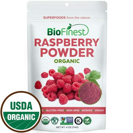 Biofinest Raspberry Juice Powder - 100% Pure Freeze-Dried Antioxidants Superfood - USDA Certified Organic Kosher Vegan Raw Non-GMO - For Smoothie Beverage Blend (4 (Non Ic Beverage)