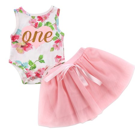 Baby Girls 1st Birthday Outfits Sleeveless Floral Bodysuit With Pink Tutu Skirt