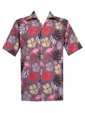 593e7669411 Product Image Hawaiian Shirts Mens Flamingo Leaf Print Beach Aloha Party