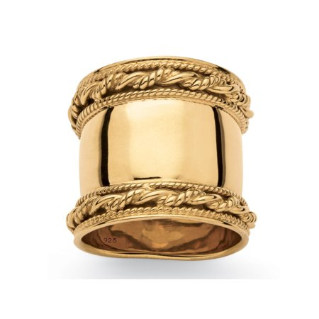 Cigar Band-Style Ring with Rope Detailing in 18k Yellow Gold over Sterling Silver 18k Yellow Gold Ring