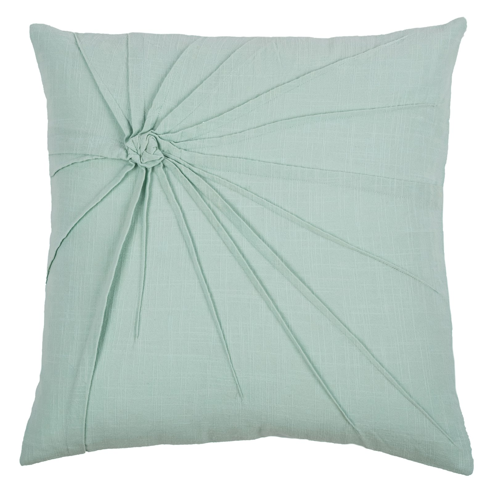 "Rizzy Home Decorative Poly Filled Throw Pillow Twisted Tacked Knot 18""X18"" Aqua"