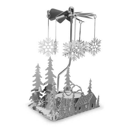 Spinning Candle Holder - Silver Plated Laser Cut Winter Scene Design with Snowflake Charms - Tea Light Candle Holder - Scandinavian Design