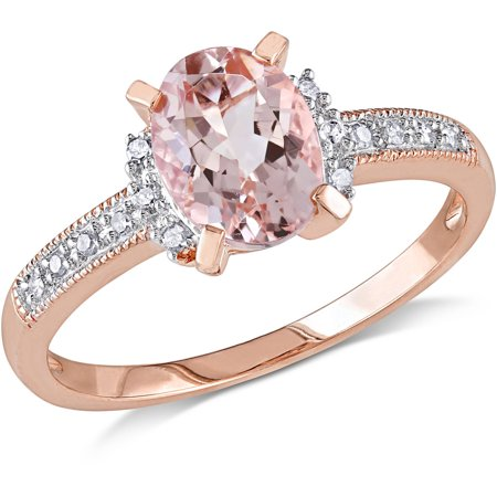 1-1/7 Carat T.G.W. Morganite and Diamond-Accent Rose Rhodium-Plated Sterling Silver Cocktail Ring ()