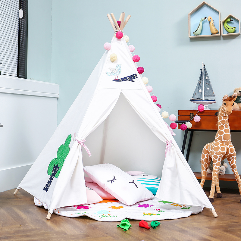 LoveTree 5-Pole Kids Teepee Play House Tent, White with Embroidery Flowers by LoveTree