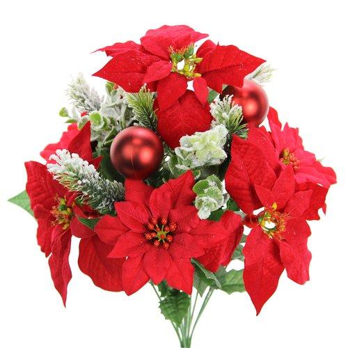 The Holiday Aisle 12 Stems Artificial Velvet Poinsettia Floral Arrangement